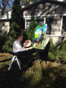 Maestrul lucrand la tabloul dedicat lui Eminscu